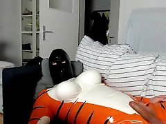 Webcam stream in my kaysen hollis tiger suit.