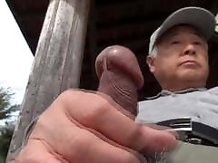 Japanese old man erection outdoors