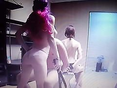 3 kim bachner girls and one guy doing gentle BDSM and some lesbian