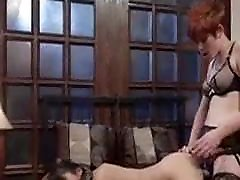 The Redhead ovy sherwood Femdom has fun with her Asian Pet