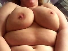 Fat wife shaking her tits while I fuck and cum on her tits