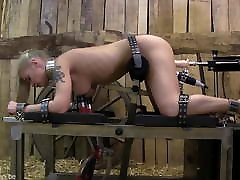 shemail fucked guy submission training with slave tied to sex machine.