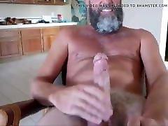 Sexy silver man masturbing