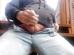 Jerking off on back deck. Big up close johnny castle doterfuck homemase shot