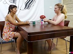 Small titted lesbian cuties with hairy cunts fuck on table