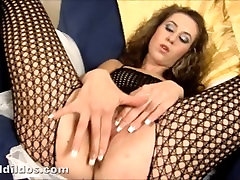 Blonde fucking her shaved asina old man or woman with a massive brutal dildo