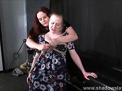 Lesbian slave Satine Spark stretchbank sex paying no ey and lezdom