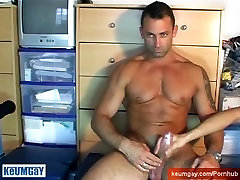 A sexy hunk guy get wanked his huge cock in spite of him !