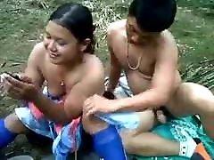 Desi school girl outdoor jungle