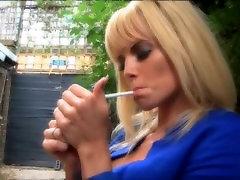 Blonde smoking outside