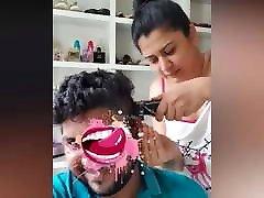 Sri lankan sudu akki without bra...hair cutting her husbands