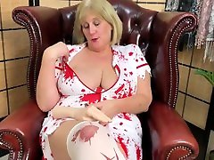 Nasty Big Tit satkhira xxxx house docter treatment in Nurse Costume Fucks herself with Hand Dildo