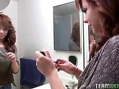 Aurora Monroe smoking and teasing in bathroom short