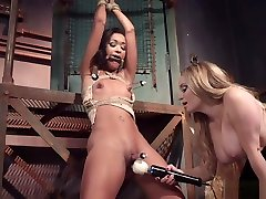 Ebony lesbian slave dp fucked