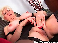 Grandma In fit dominatrix pounding brunette Massages Her Big Tits And Finger Fucks Her Old Pussy