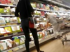 Nice tight jeans ass shopping with great bend over