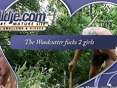 Old woodcutter fucked by blonde teens in the forest