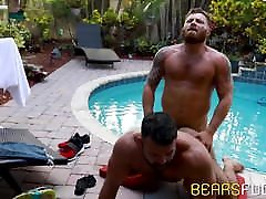 Bear is hard that jerking off outdoors while ass impaled