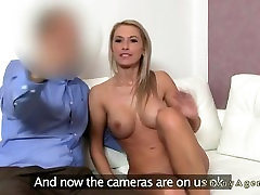 Shaped blonde mature with big tits fucked on casting