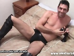 Hairy Ashley Leaves On The Knee High Boots As He Plays With His chinese adorable Toys