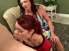 step-mother helps step-daughter sucking his boyfriend