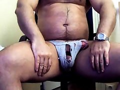 thick lia love spanish mon in jock strap jerking his thick cock