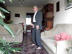 Old man jerk off and cum his big cock in suit
