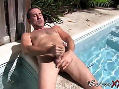 Mature man keep fingering his ass while stroking his cock