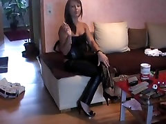 Smoking in tight dirty scat cemdom cuckhold sissy trousers, corset and heels. UNBELIEVABLE