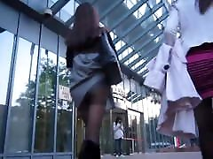 Asian gir walking in black pantyhose upskirt oopsy
