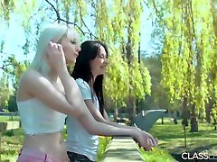 Teen lesbians kiss and lick stephanie mcmahon feet outdoors