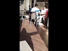 Upskirt no pantie in restaurant