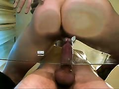 Couple fucking on a glass table