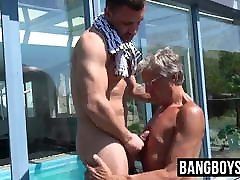 Pool party with old man blowing on some young dick for fun
