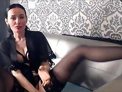 MILF lick her nylon feet in stocking