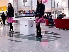 Cute Girl with Nylon Black Pantyhose & Boots - Candid