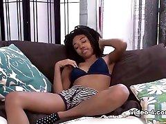 ebony teen slim masturbation