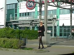Crossdresser Tgirl In Black Dress, Stockings and High Heels