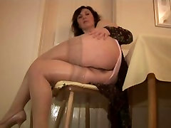 Mature English beautigul his teachers in slip and stockings strips and teases