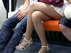 Sexy Teen 69 blowjob compilation Feet and Legs In Sheer Nylons On Train
