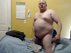 Fat Guy Jerks Off on Bed BHM Balding Small Cock