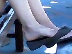 Candid Teen Feet and Legs Shoeplay Dangling Flats