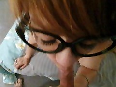 Nerdy Asian sexy model boobs lets me cum in her mouth