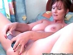 Classy grandma Joy gets fingered deep and masturbates very big dick fucked dildo up her ass