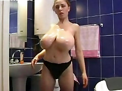 huge oily tits