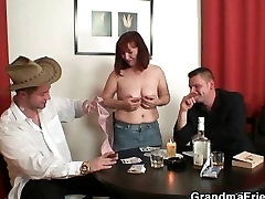 Poker-playing mom andsonxxxvideo gets fucked by two guys