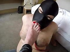 Fat young footslave licking feet