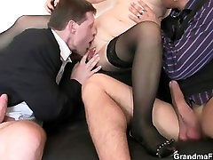 Office two hijab lady enjoys two cocks