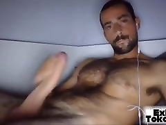 Guy with hairy chest jerk off his dick and cums
