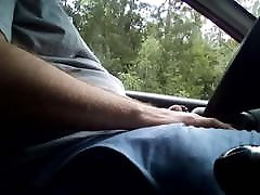 Jerking off in the car in public